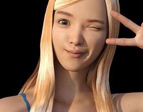 3D Lovely Asian Girl Pose v-hands