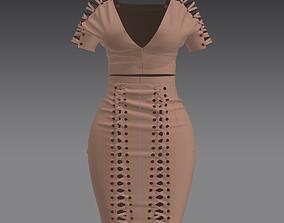 Suede sexy dress Marvelous designer 3D woman