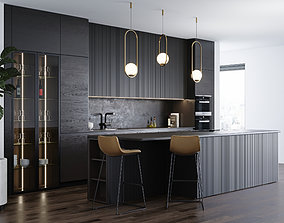 Black modern kitchen 3D