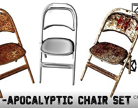 3D model Post-Apocalyptic Folding Chair Set --