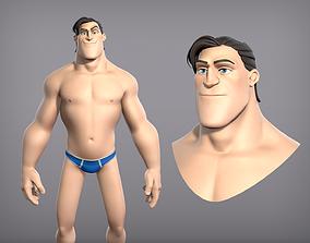 3D asset Cartoon male character Curtis base mesh