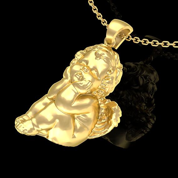 Baby Angel Sitting Pendant jewelry Gold 3D print model