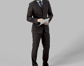 3D asset Ian A Business Man Standing While Reviewing