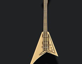 electric guitar pendant 3D printable model jewelry
