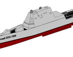 USS Zumwalt DDG 1000 3D model