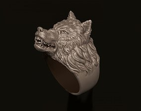 angry wolf ring 3D printable model