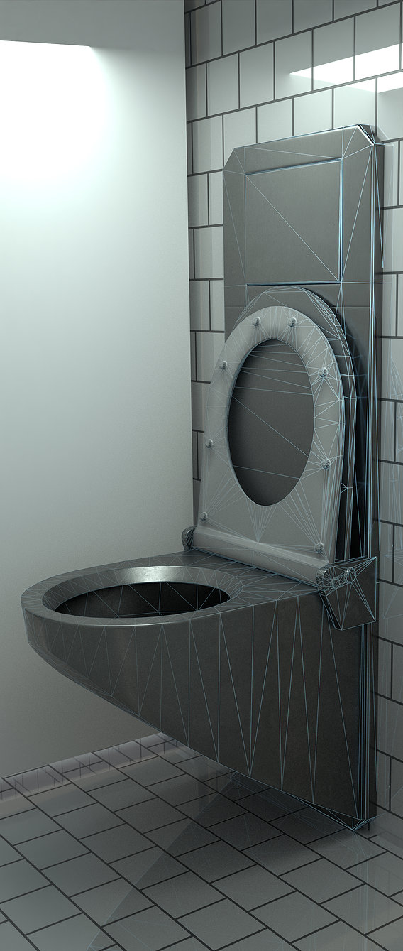 Stainless Steel WC Low-Poly Version (Blender-2-92 Cycles)