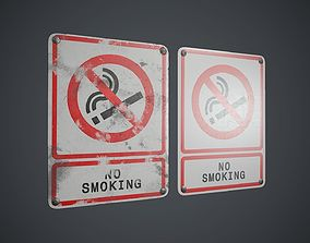 3D asset Plastic No Smoking Sign 3 PBR Game Ready