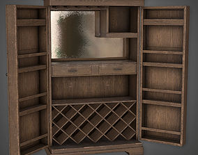 3D model Large Liquor Cabinet 01 Dive Bar - PBR Game Ready
