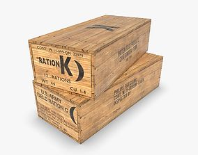 3D model US K and C Rations wooden crate WWII