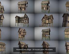 Medieval lake village - 20 houses pack 3D