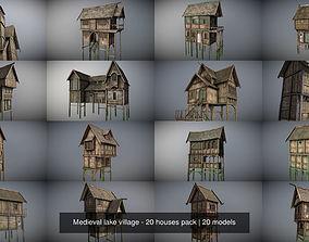 3D model Medieval lake village - 20 houses pack