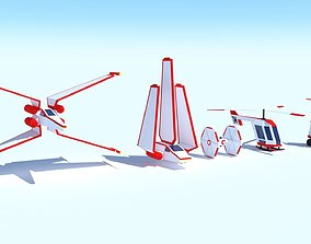 collection air spaceships Stylized 3D asset