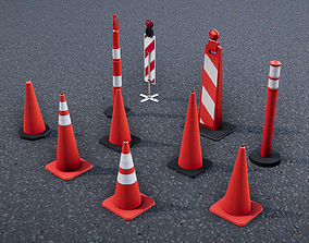 Low Poly PBR Road Traffic Cones 3D asset game-ready