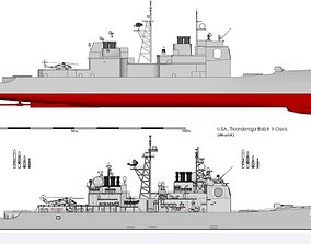 3D printable model USN CG-47 Ticonderoga-class Guided 1
