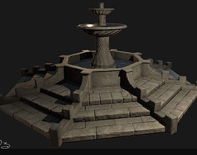 3D asset Low Poly PBR Stone Water Fountain