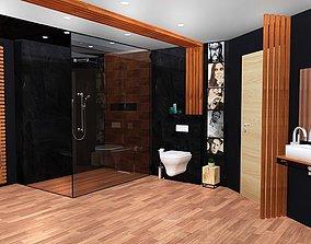 game-ready bathroom black colour scheme 3d model