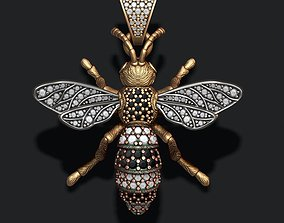 Bee pendant with diamond 3D printable model necklace