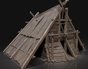 3D model Viking Simple Hut Wooden House Cottage Medieval 2