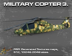 3D model realtime MILITARY COPTER 3