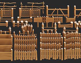 cartoon modular wooden fence low poly pack 3D asset