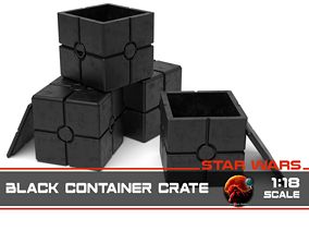 Star Wars black container crate 1-18 3D print model