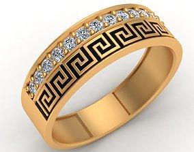 Versace Enamel Gold Diamond Men Ring 3D print model