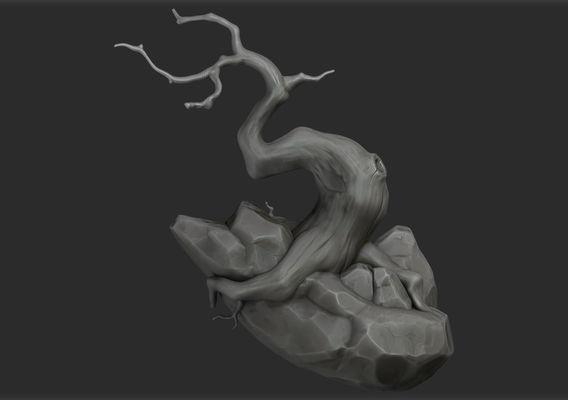 Game Art Sculpting : Stylized Rocks/Tree