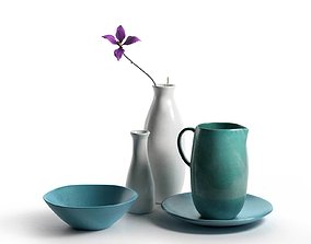 Turquoise Vases Set 3D