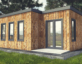 Small Wood Cabin with Interior 3D model