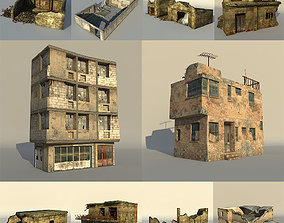 3D Middle East destroyed houses collection for game