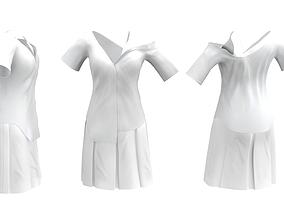 3D asset Off Shoulder Asymetrical Shirt Dress