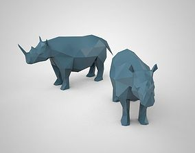 statue low poly 3D model of a rhinoceros