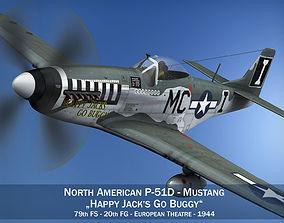 North American P-51D Mustang - Happy Jacks go 3D model