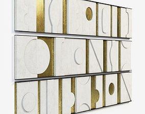Art Wall Sculpture Panels Modernist Frieze Triptych 3D