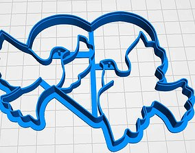 cookie cutter two doves with a heart 3D print model