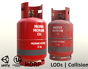 3D model Gas Cylinder 11 kg Red - Clean and Dirty