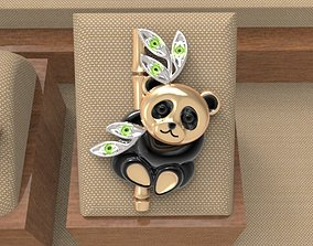 3D print model gems Baby panda brooch