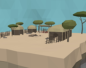 LowPoly African Village 3D model