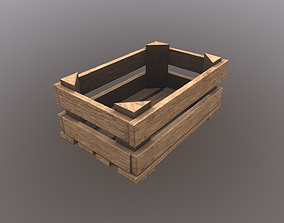 Wooden Crate 3D asset low-poly