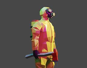 Hazmat suit 3D asset animated