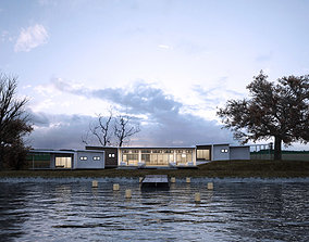Green Residential Villa Revit Model 3D asset