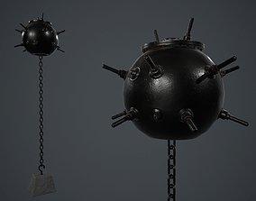 Black Painted Metal Naval Mine PBR Game Ready 3D model