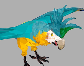 3D asset Blue Parrot Low Polygon Art Bird