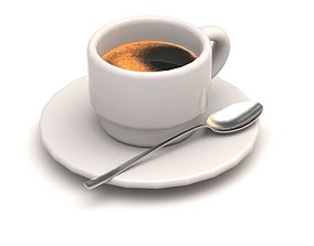 3D model Coffee cup with a spoon