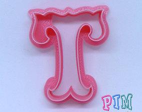 3D print model Vintage letter T cookie cutter