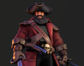 Pirate Captain PBR 3D model rigged