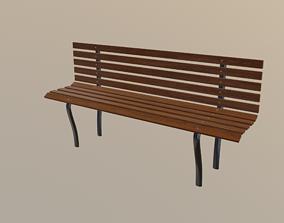 wood Bench 3D asset VR / AR ready