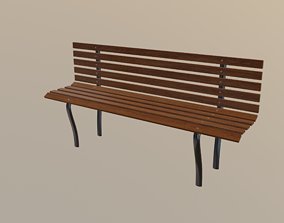 3D asset low-poly bench Bench