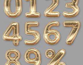 Balloons Numbers Golden 3D model